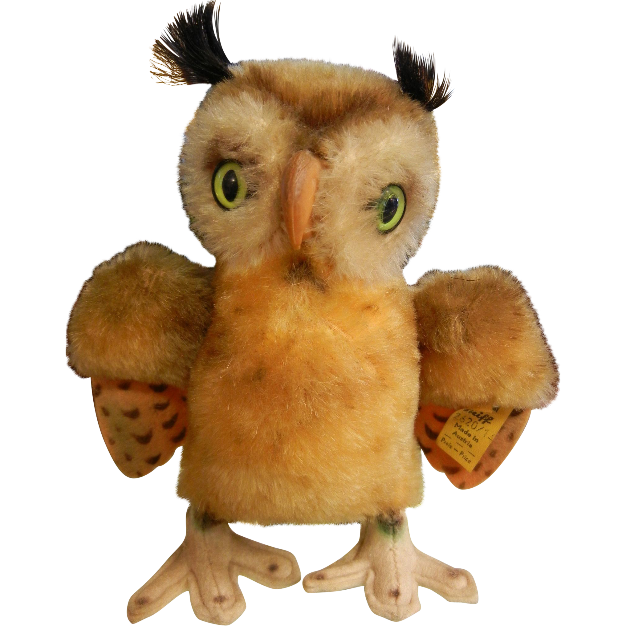 Vintage Original Steiff Stuffed Animal - Green Eyed Owl