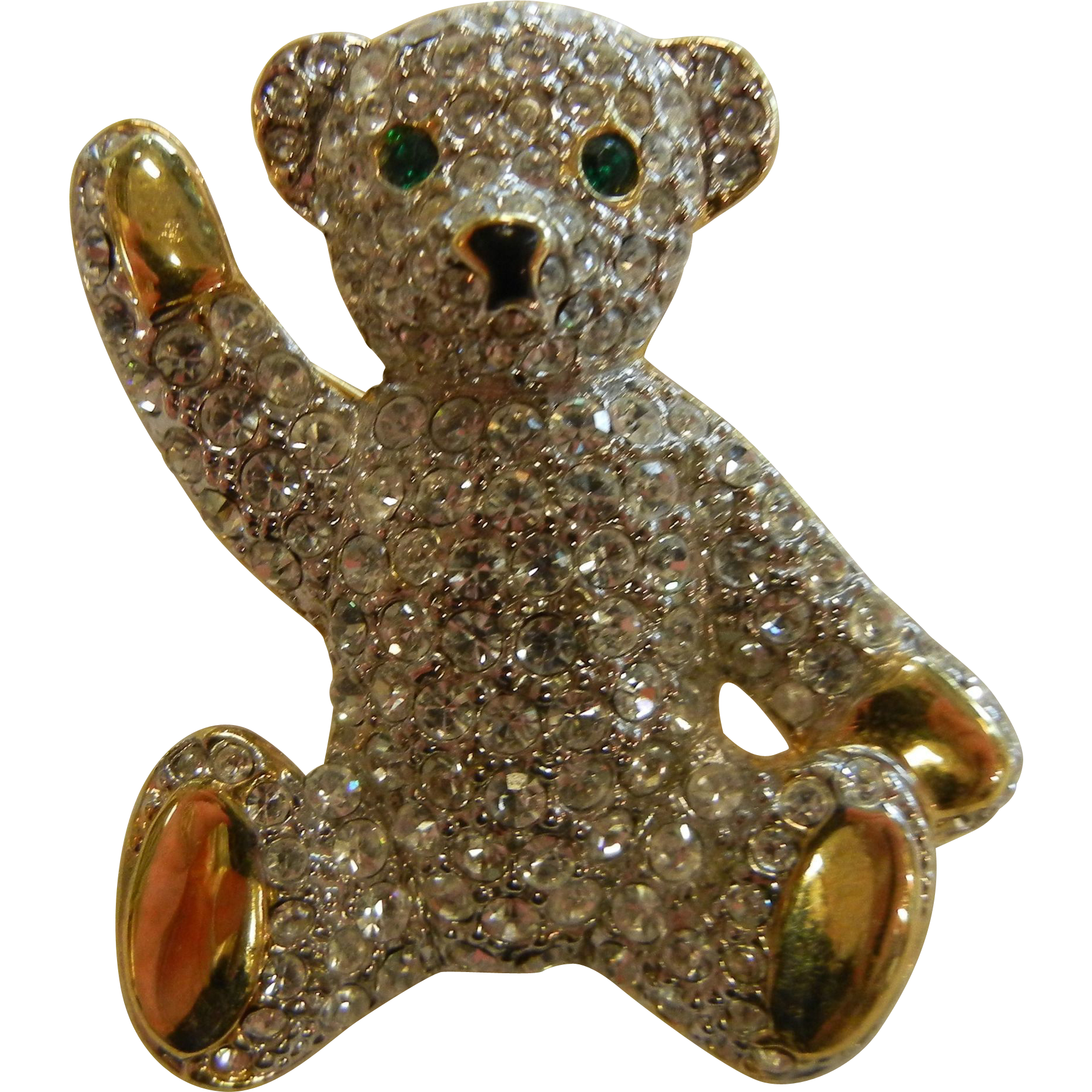 Vintage Rhinestone Costume Jewelry Brooch Teddy Bear