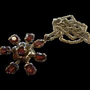 Vintage Rhodelite Garnet & Silver Flower Pendent Necklace