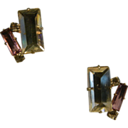 Vintage 1930's Screw Back Earrings w/ Faceted Clear & Purple Glass