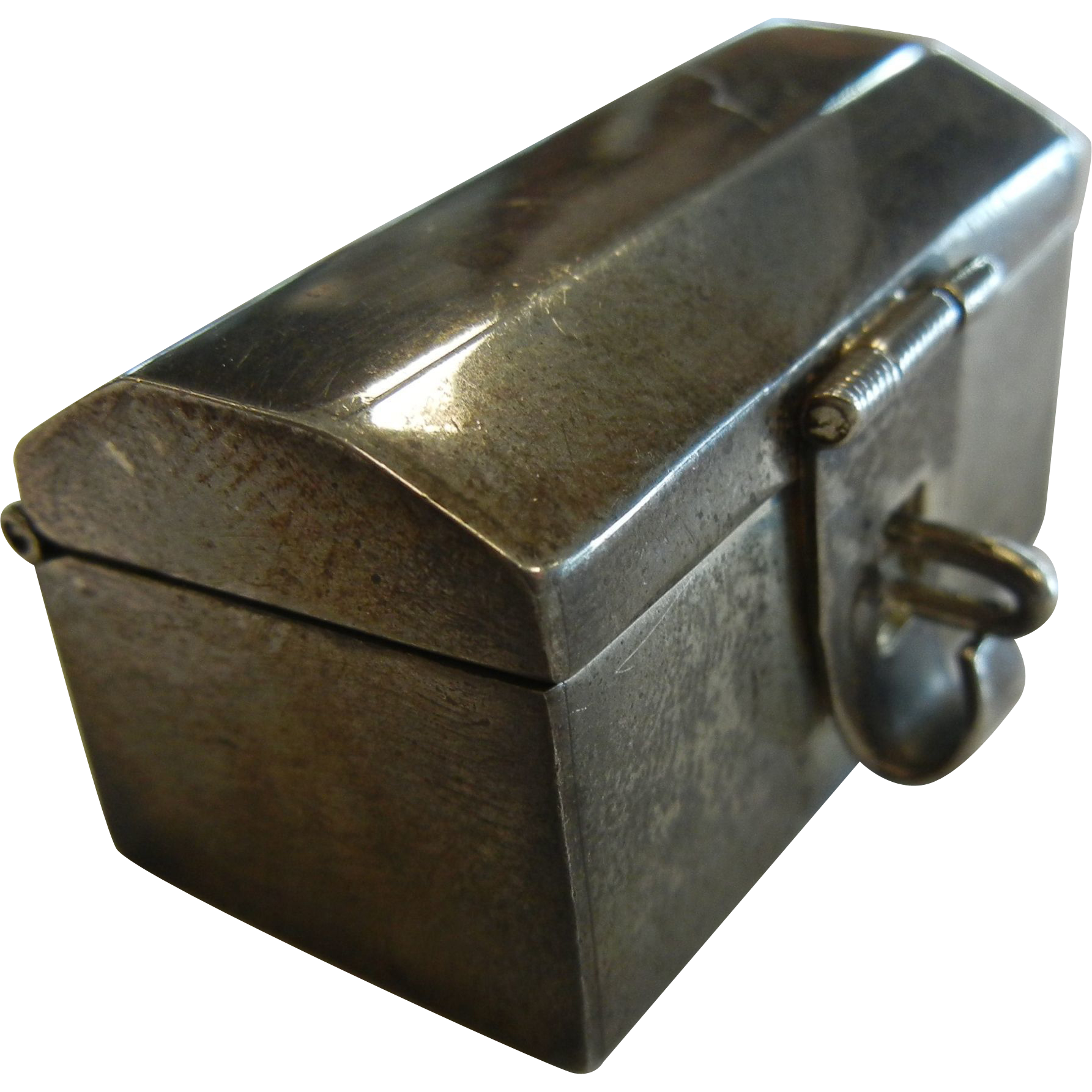 Vintage Fine Signed Mexico Sterling Silver Miniature Treasure Box w/ Latch