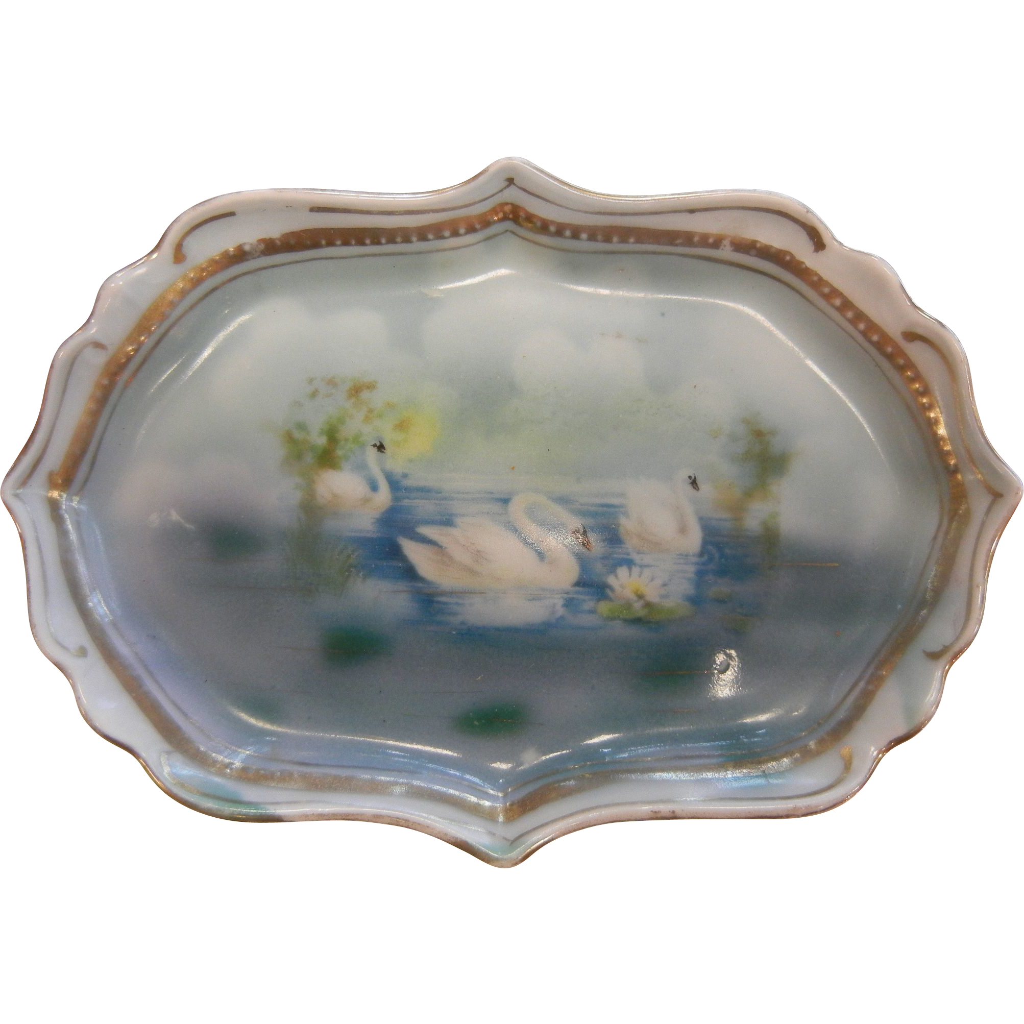 Vintage Gilded Porcelain Dish w/ Hand Painted Swans