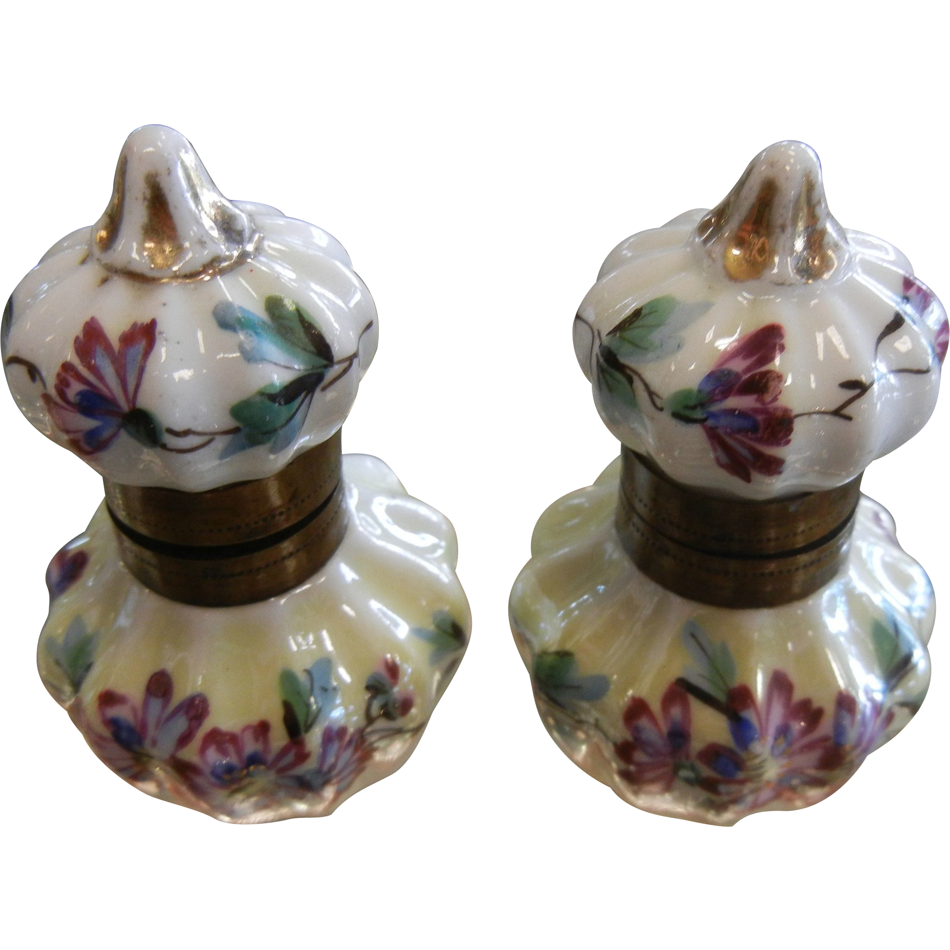Antique Set of Two Porcelain Hand Painted Ink Wells