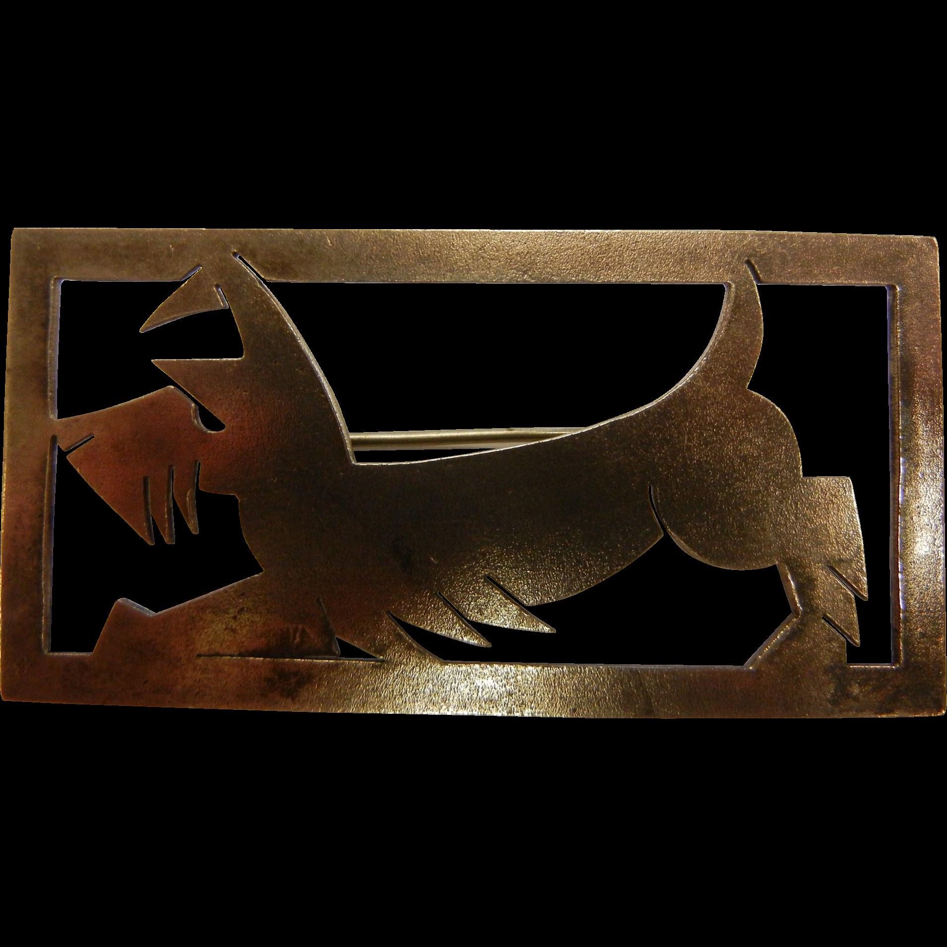 Signed 900 Silver AK Silhouette Scottie Dog Terrier Brooch