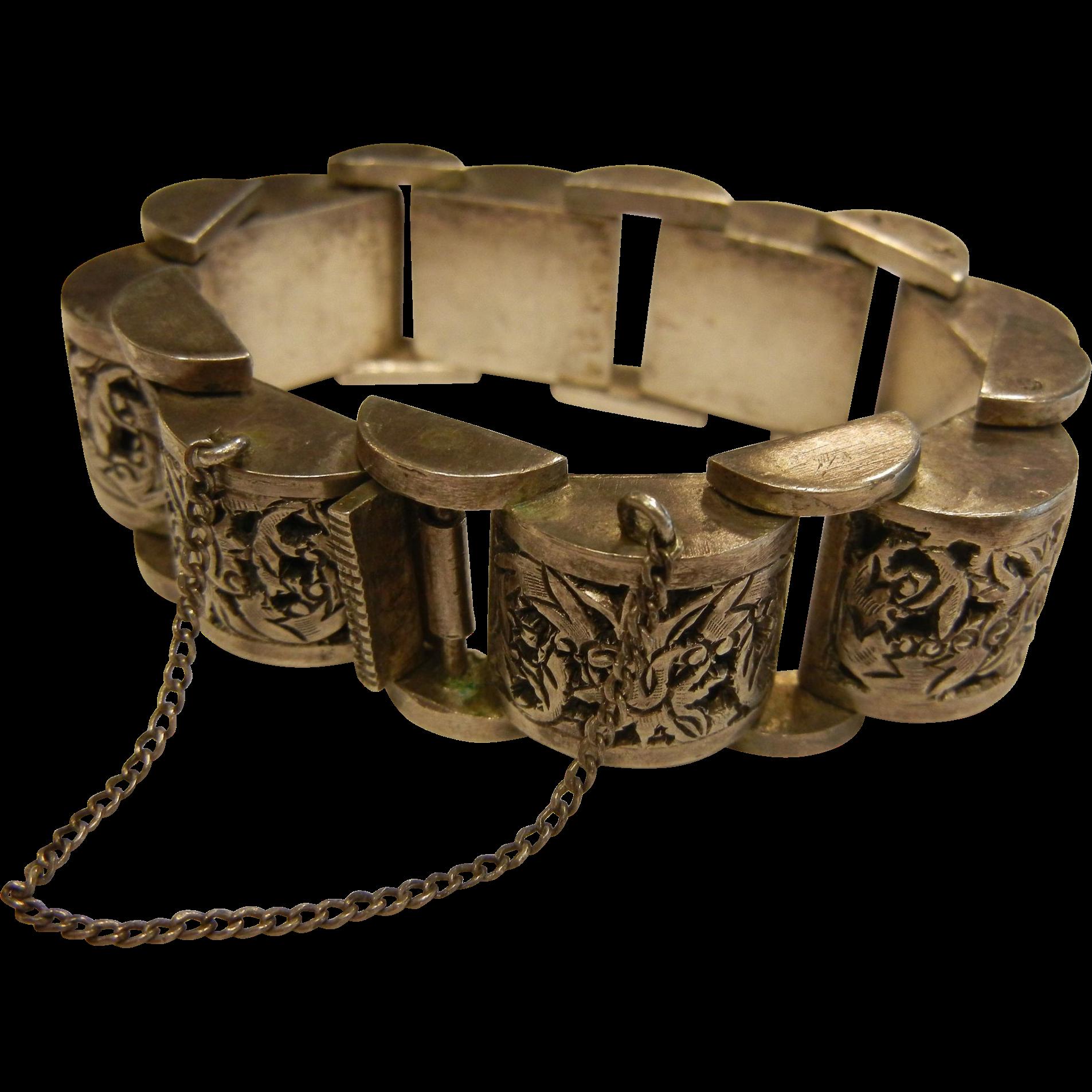 German Pierced Coin Silver Link Bracelet