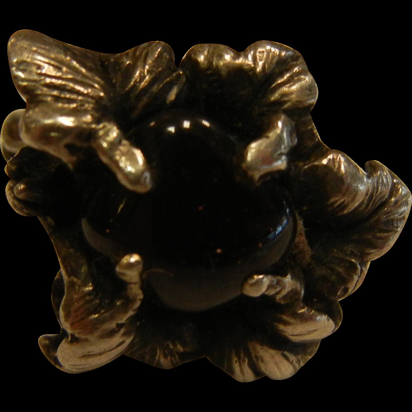 Unique Sterling Silver Flower Ring w/ Prong-Set Garnet