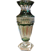 Vintage  Val St. Lamberth Cut Crystal Green Glass Vase