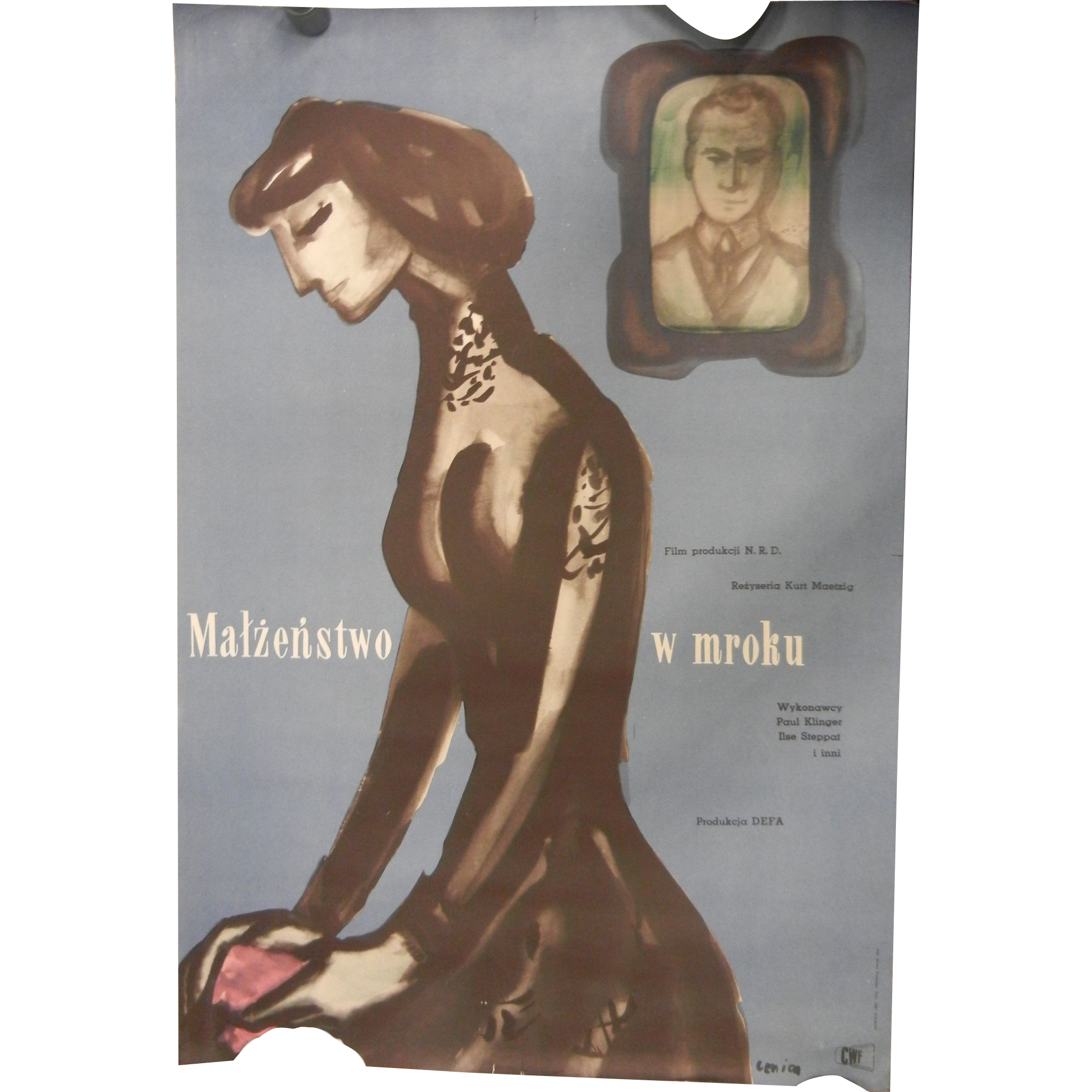 Vintage Rare Polish Circa 1955 Film Poster 'Matzenstwo w mroku' Marriage In the Shadow Signed Lenica