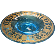"Beautiful  Antique ""Devil Face"" Gilded Aqua Blue Glass Dish"