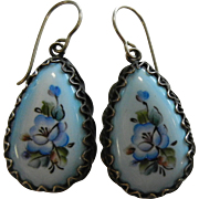 Vintage Russian Hand Painted White Enameled Painted Flower Drop Earrings