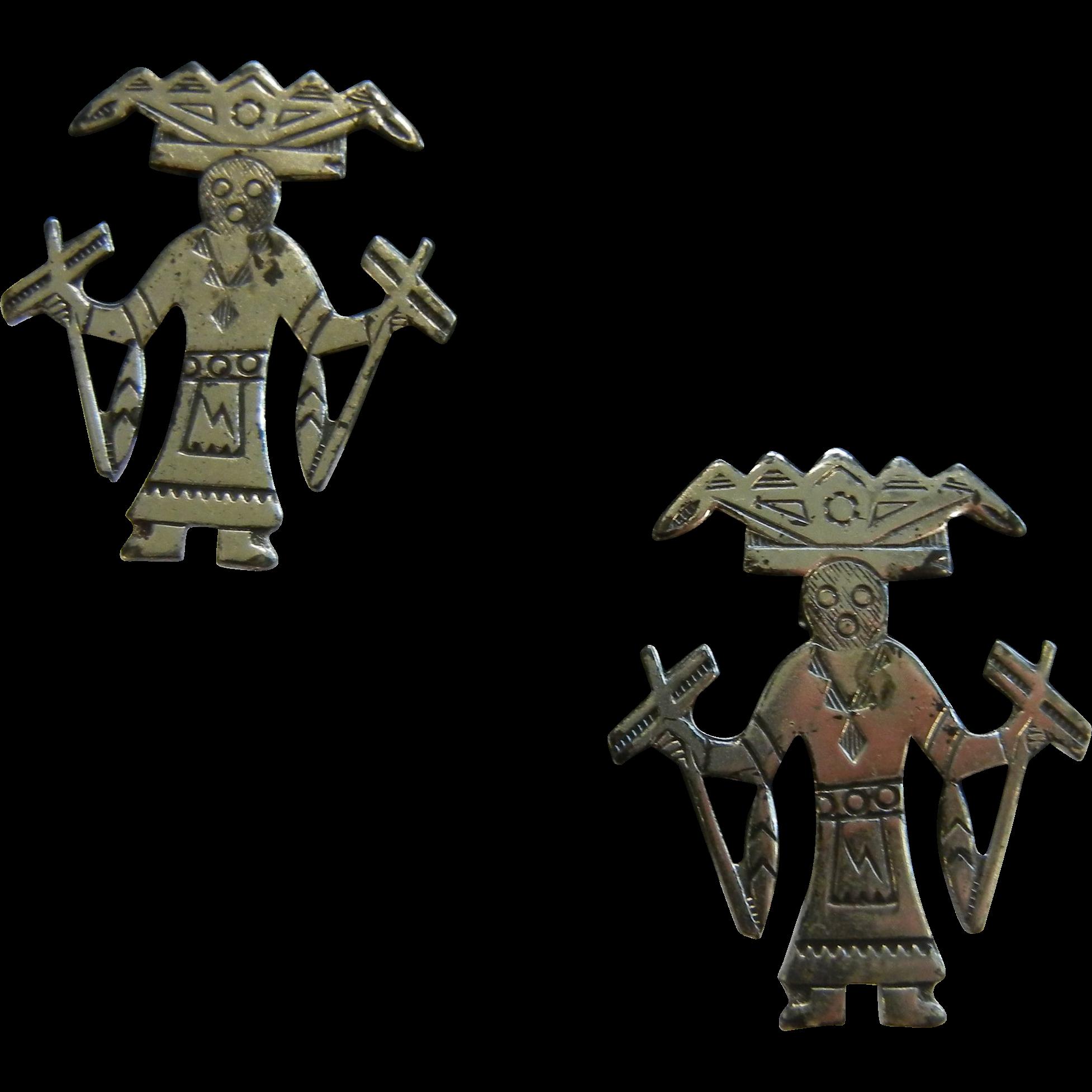 Vintage Sterling Silver Aztec God Screw-Back Earrings