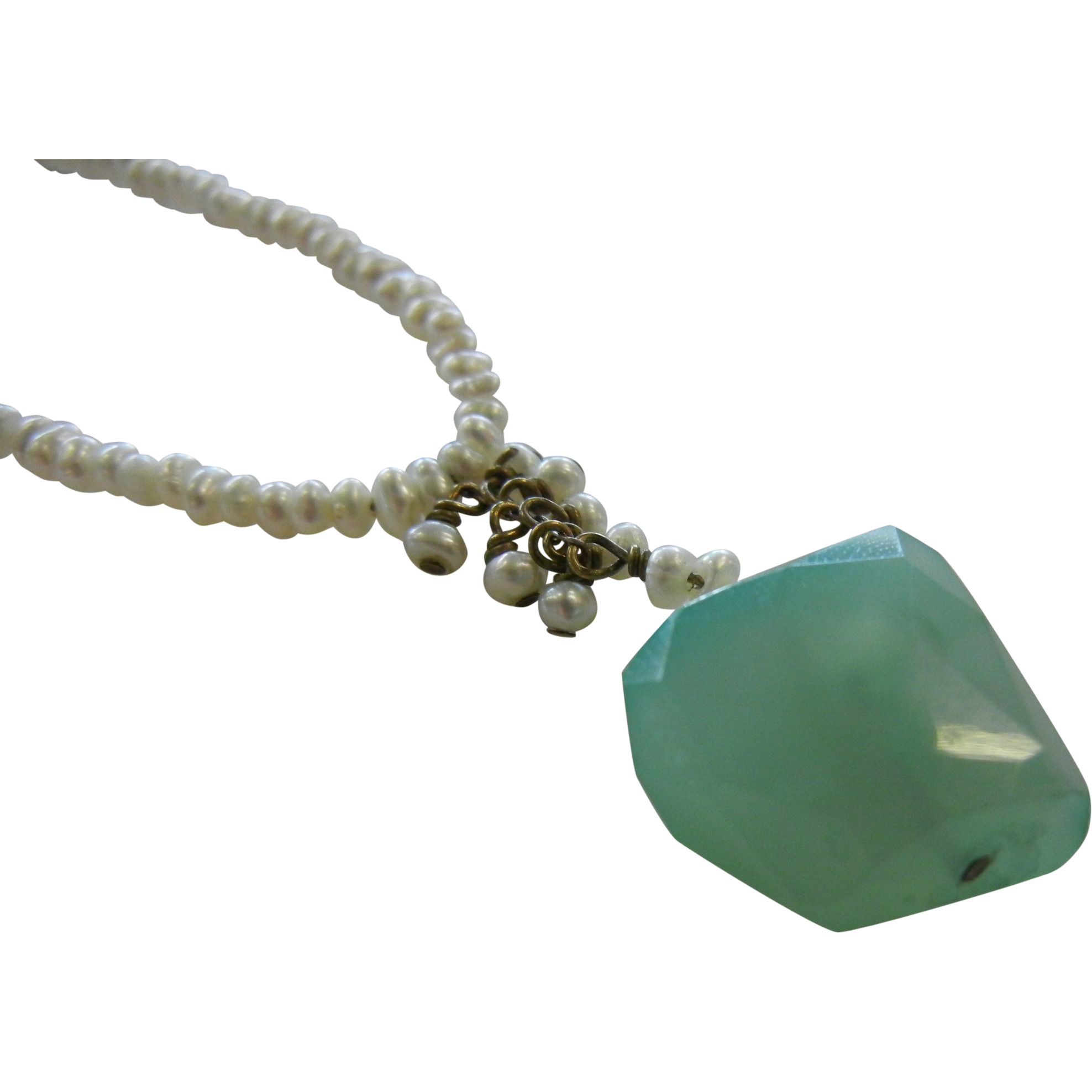 Unique Small Bead Cultured Pearl Necklace w/ Natural Faceted Fluorite Stone Pendent