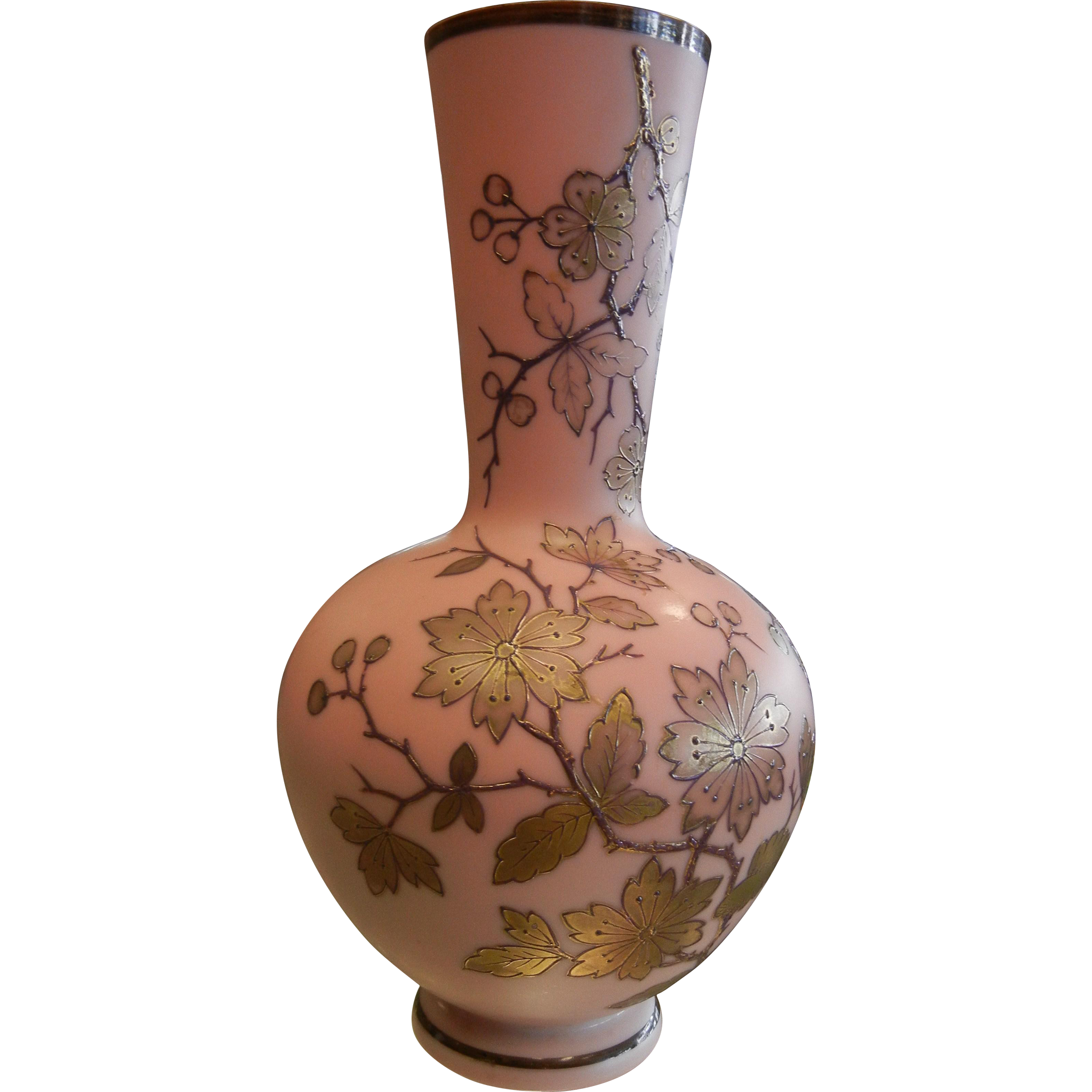 Fabulous Signed Thomas Webb Antique Pink Glass Vase w/ Gilded Cherry Blossom Designs