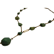 Circa 1930's  Enameled Link Necklace w/ Natural Turquoise Nugget Beads Nuggets