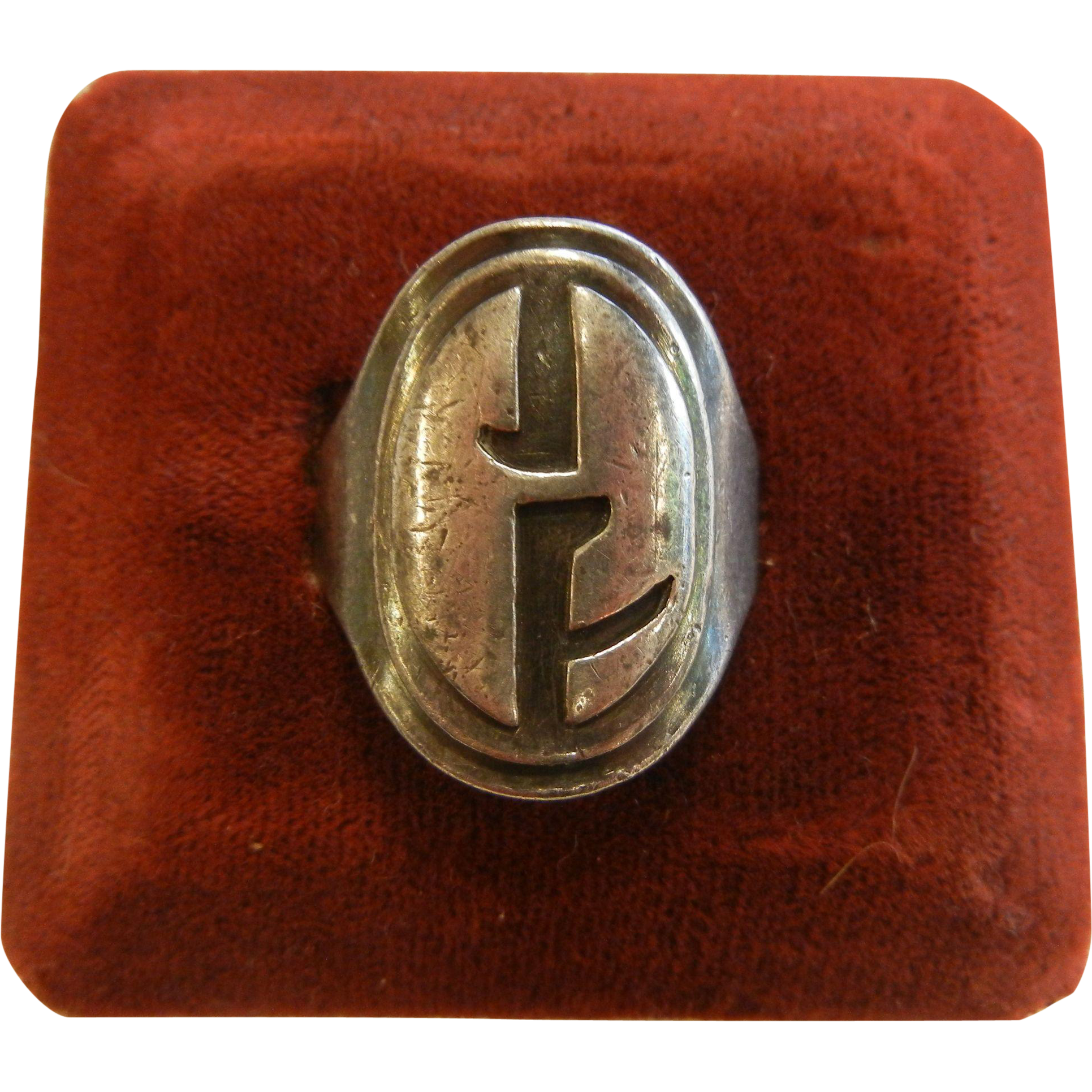 Vintage Sterling Silver Ring w/ Modernist Initials JF