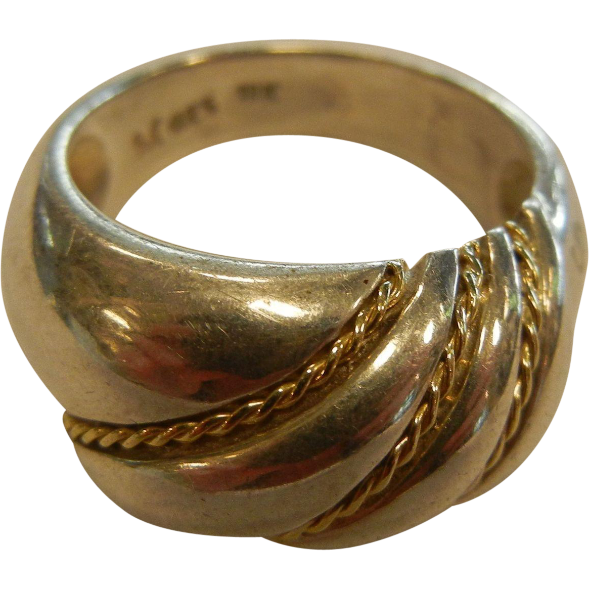 Vintage Sterling Silver Ring w/ 18K Yellow Gold Details