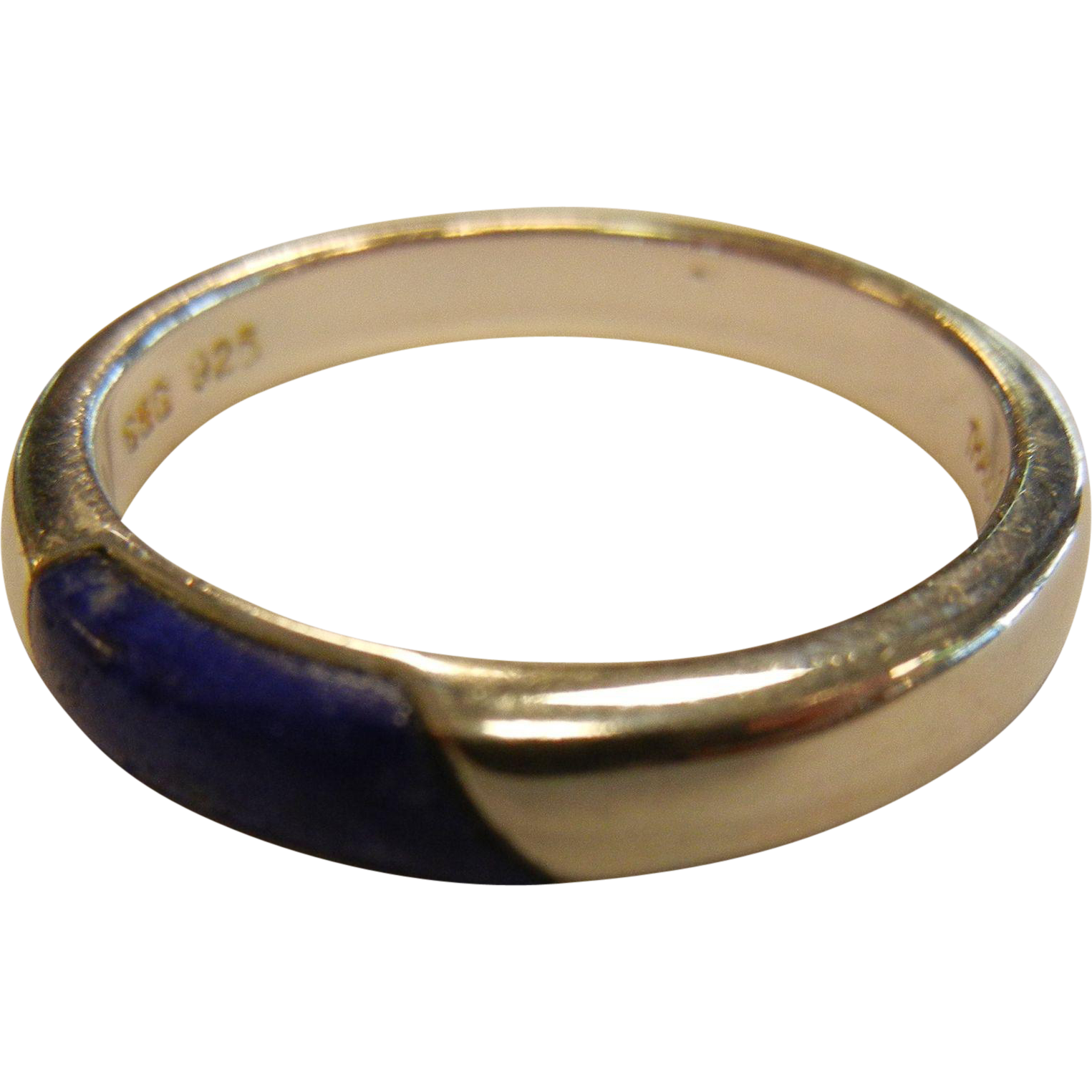 Signed 925 Sterling Silver Ring w/ Inlaid Natural Lapis Lazuli