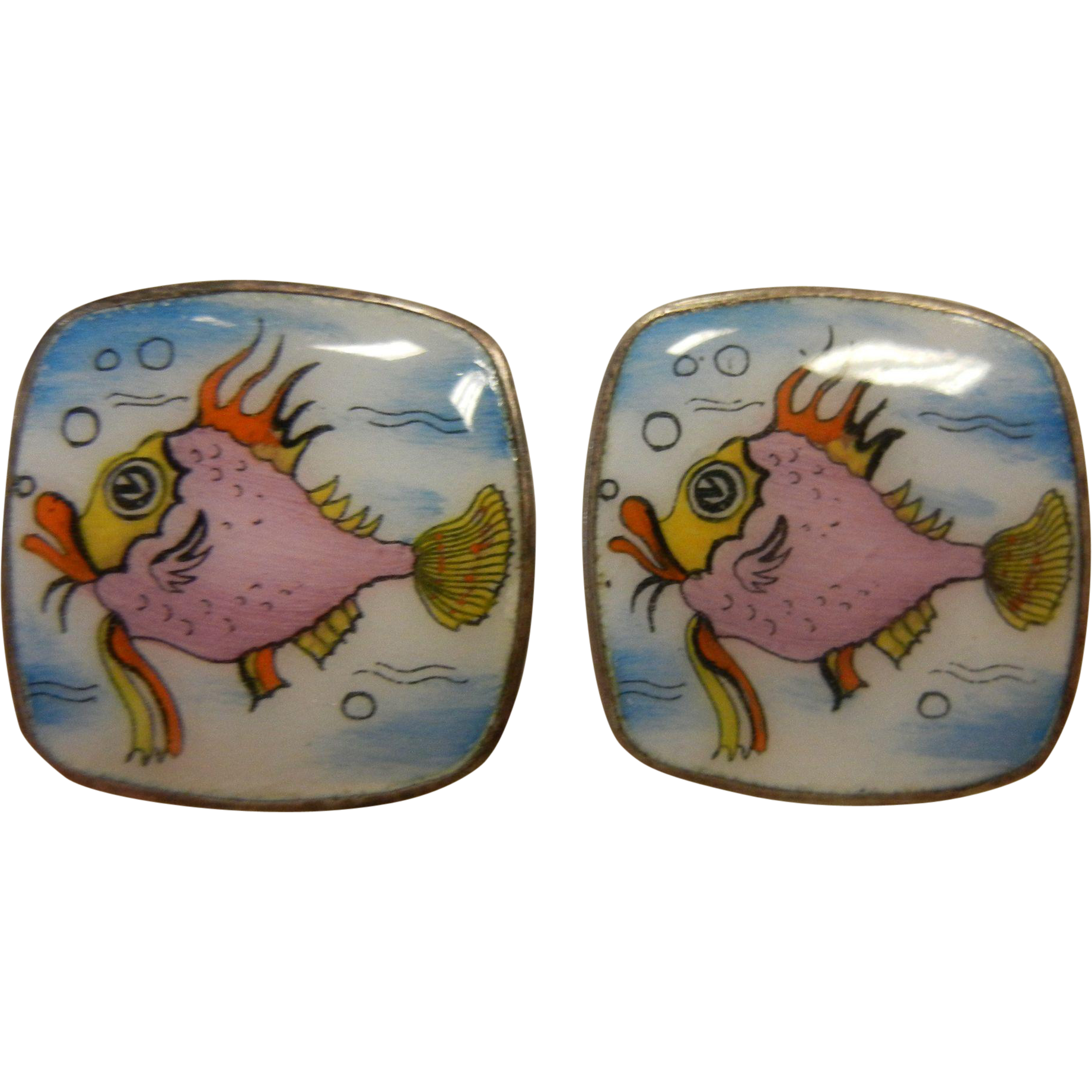 Adorable Vintage Sterling Silver Clip Earrings w/ Animated Fish Enamel