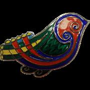 Vintage Hallmarked Enameled Sterling Silver Bird Brooch