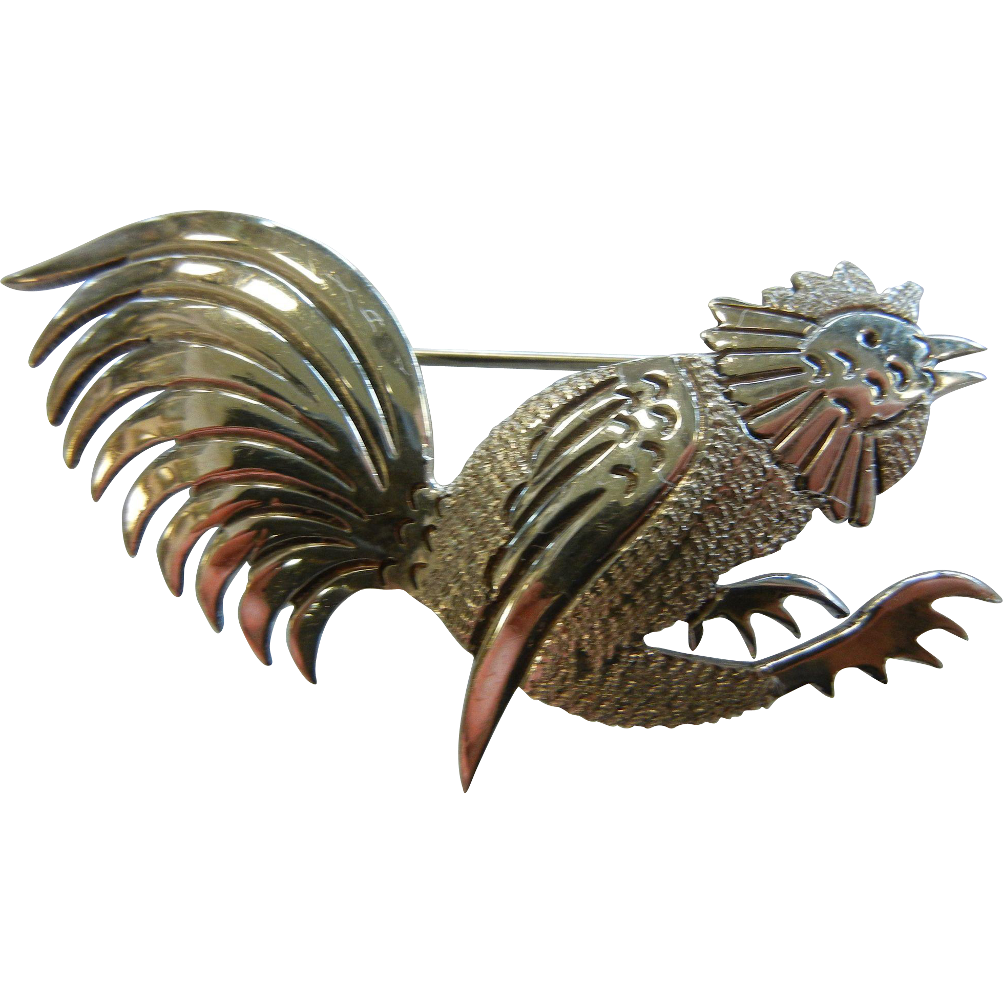 Vintage Mexico Sterling Silver Signed Rooster Brooch