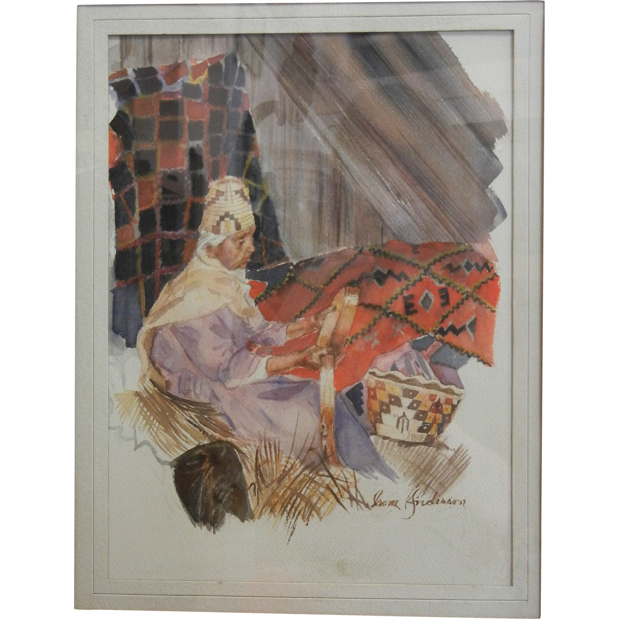 Vintage Original Native American Hand Painted Water Color Painting by Artist Irene Anderson Basket Weaver