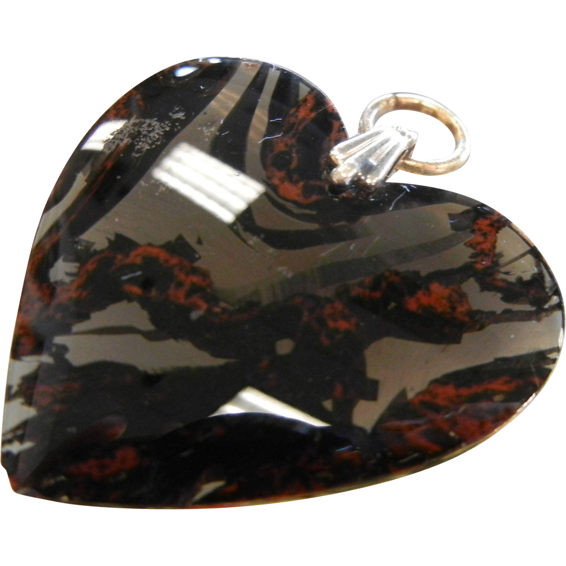 Hand Polished Translucent Natural Mahogany Obsidian Heart Pendent