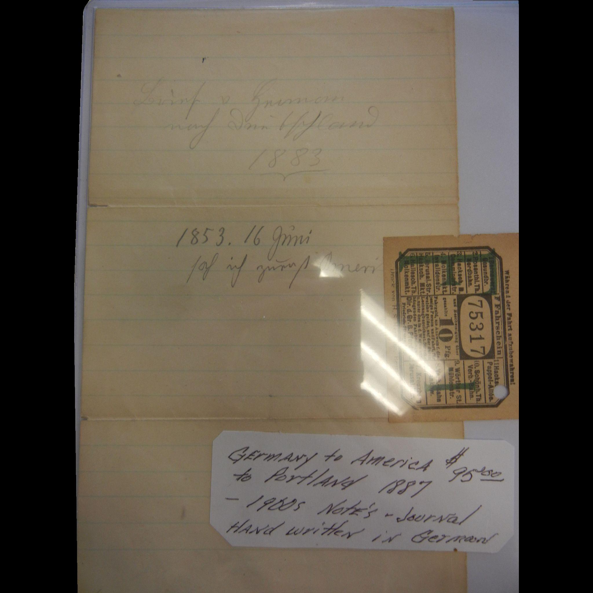Original Hand Written German Journal Note With Stamp 1887-1900's