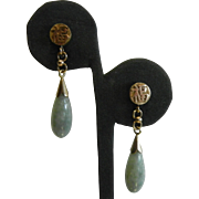 Fine 14K Gold Chinese Medallion Stud Earrings w/ Natural Jade Droplets