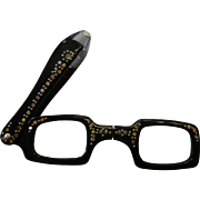 Vintage Rhinestone Adorned Black Plastic Folding Viewing Glasses