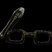 Vintage Rhinestone Adorned Black Plastic Folding Viewing Glasses