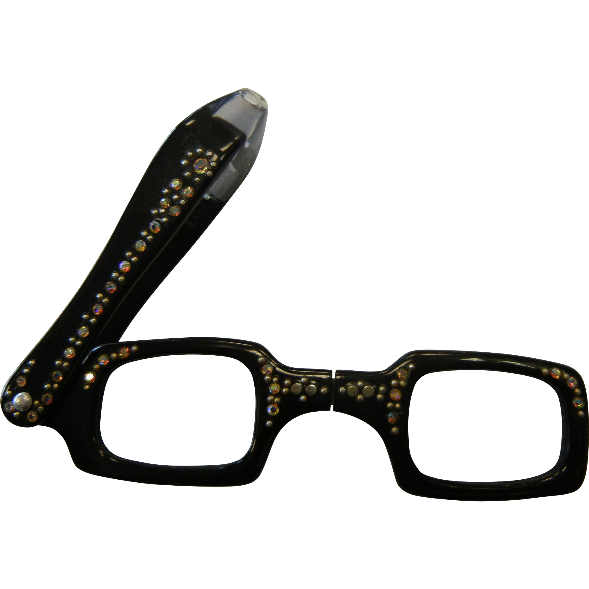 Retro Eyeglass Frames Portland Oregon : Vintage Rhinestone Adorned Black Plastic Folding Viewing ...