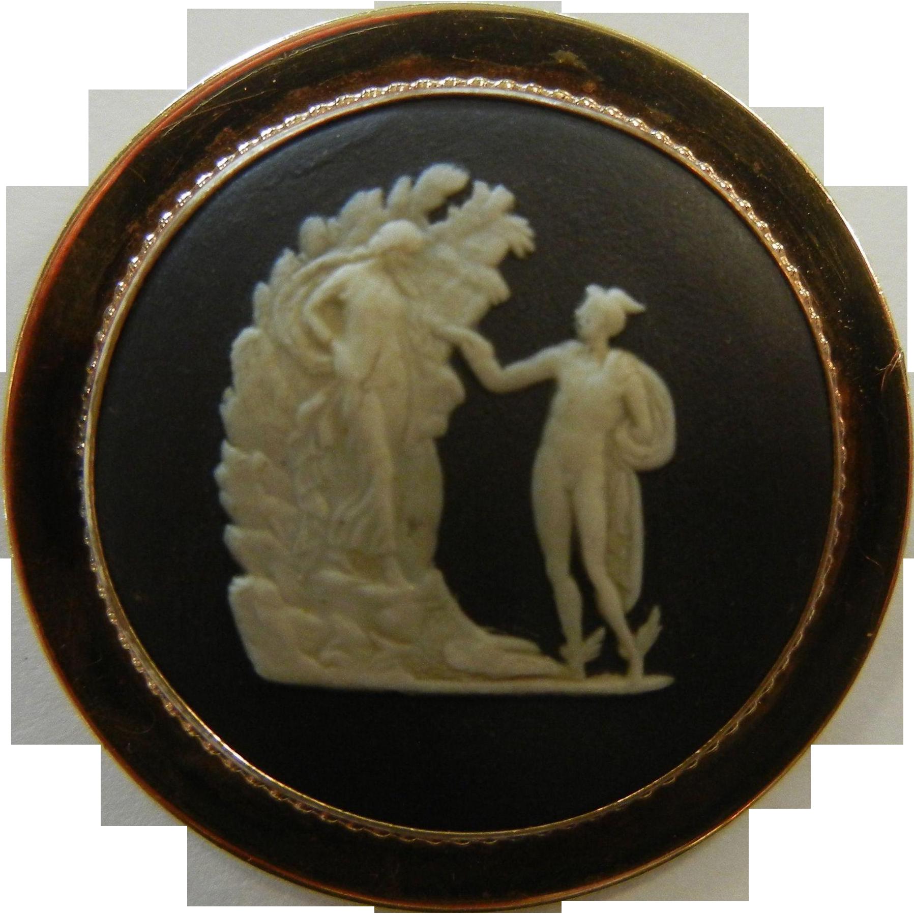 Vintage Wedgwood England Porcelain Cabochon Gold Filled Brooch