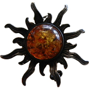 Very Unique Natural Amber & Sterling Silver Sunshine Brooch