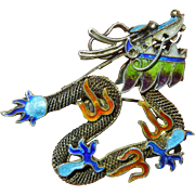 Vintage Chinese Intricate Enameled Vermeil Silver Dragon Brooch