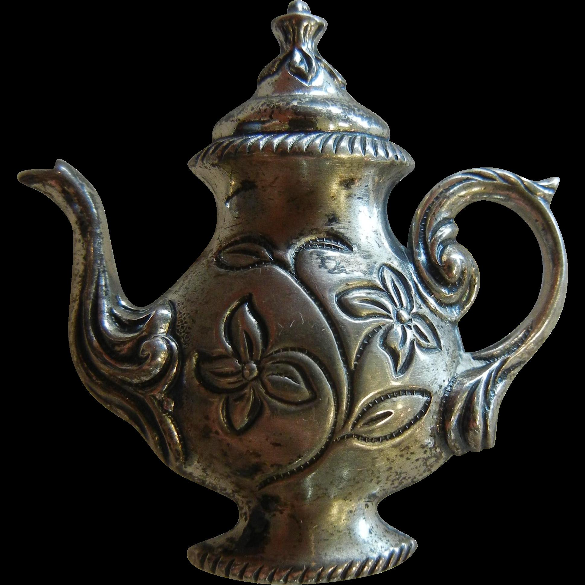 Fine Sterling Silver Teapot Brooch