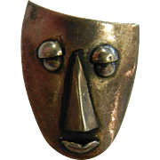 Vintage Signed Silver Modernist Face Pin