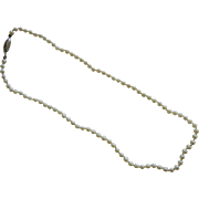 Fine Vintage Cultured Pearl Necklace w/ 14K White Gold Clasp