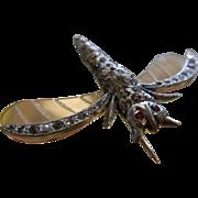 Vintage 1930's Dragonfly Pin w/ Rhinestones & Plastic Wings
