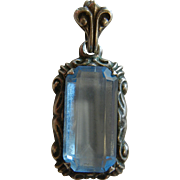 Very Fine Vintage 1940's German Blue Glass 900 Silver Pendent