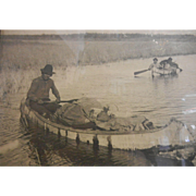 Framed Antique Photograph Linde Canada Copyright 1912 - Indians in Canoes