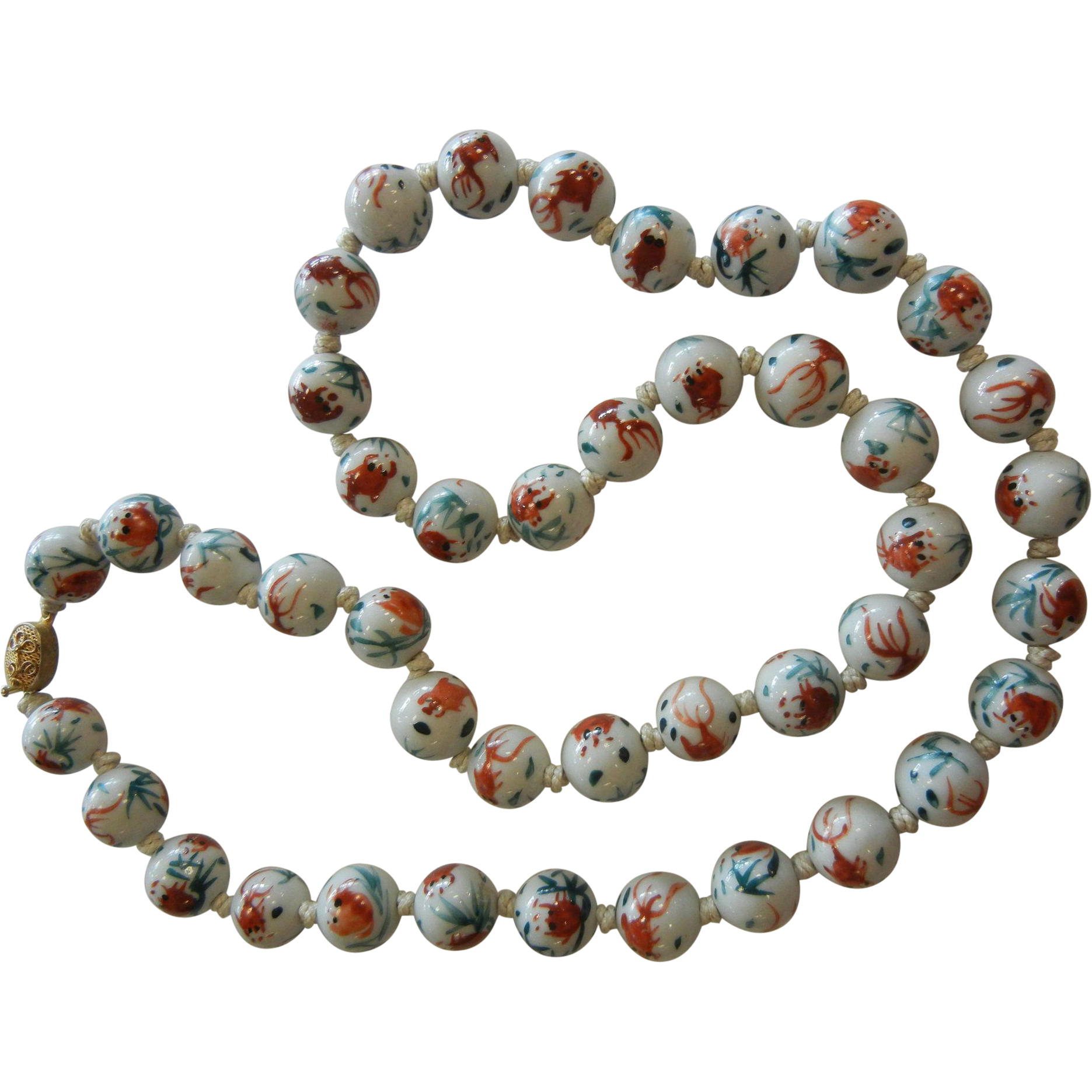 Vintage chinese hand painted porcelain beads w koi fish for Koi fish beads
