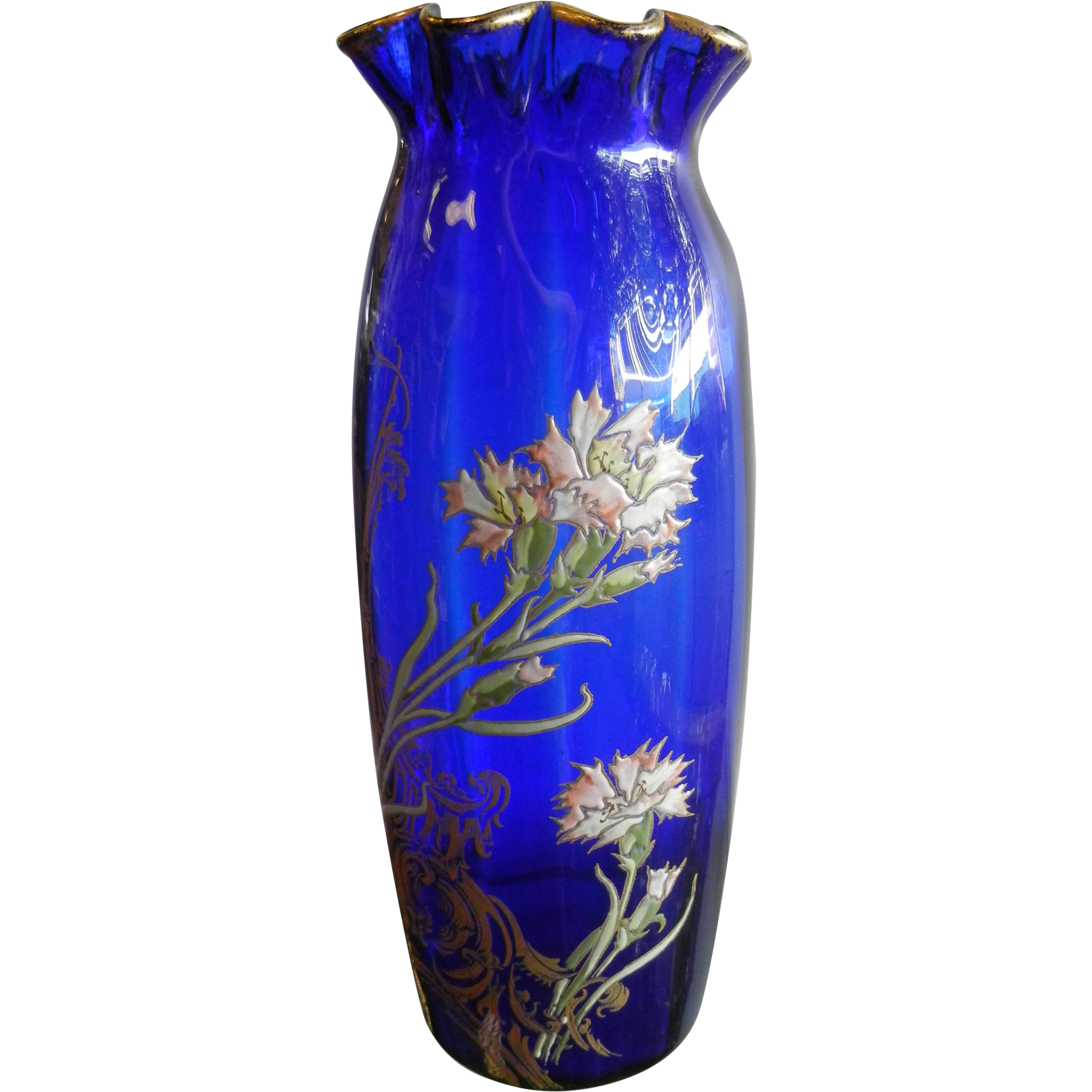 Antique Large Gilded Cobalt Blue Glass Vase w/ Hand Painted Enamel Flowers