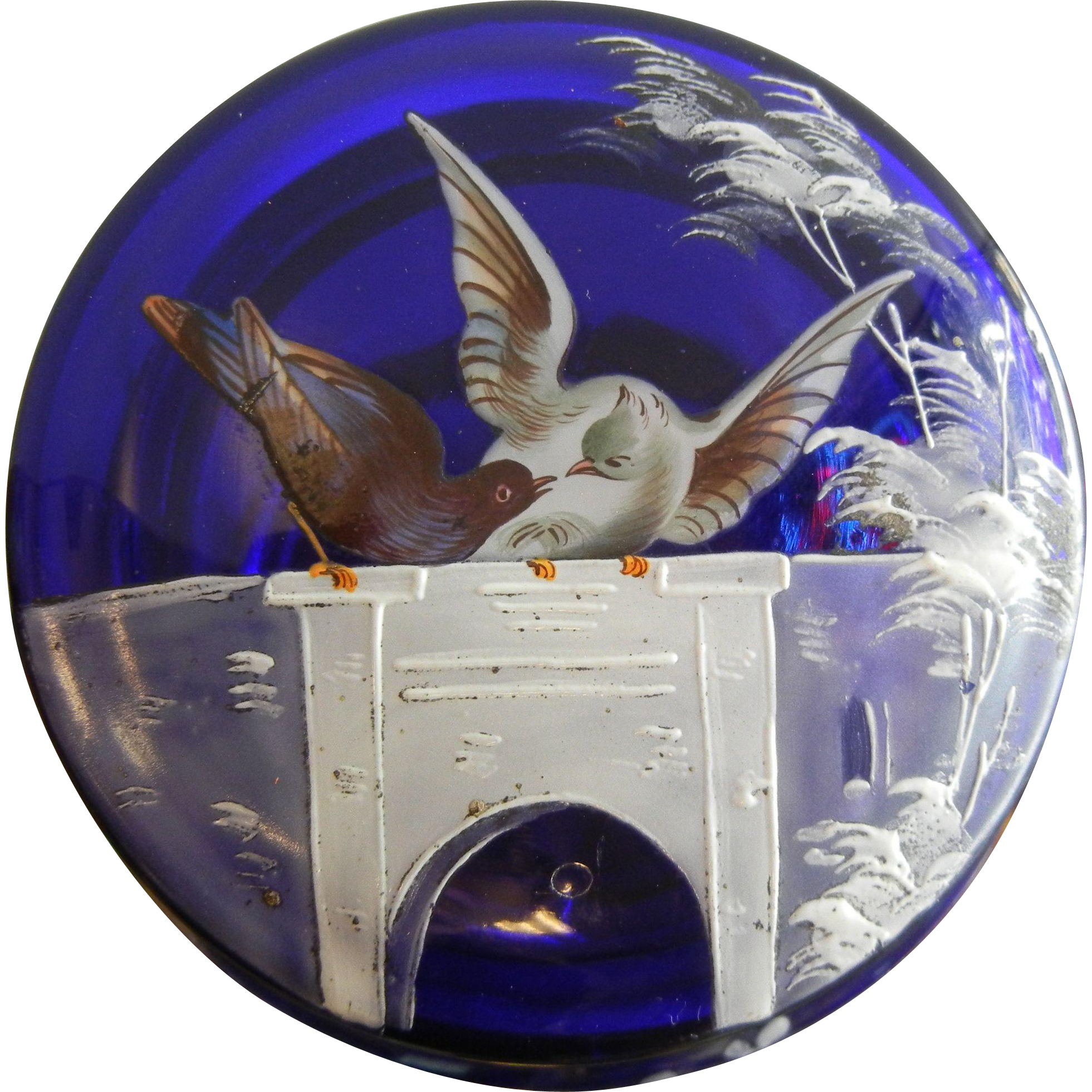 Antique Cobalt Blue Glass Dresser Box w/ Hand Painted Doves and Bridge Decor