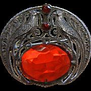 Wonderful Silver-Tone Brooch w/ Red Glass Stones & Pheasant Detail