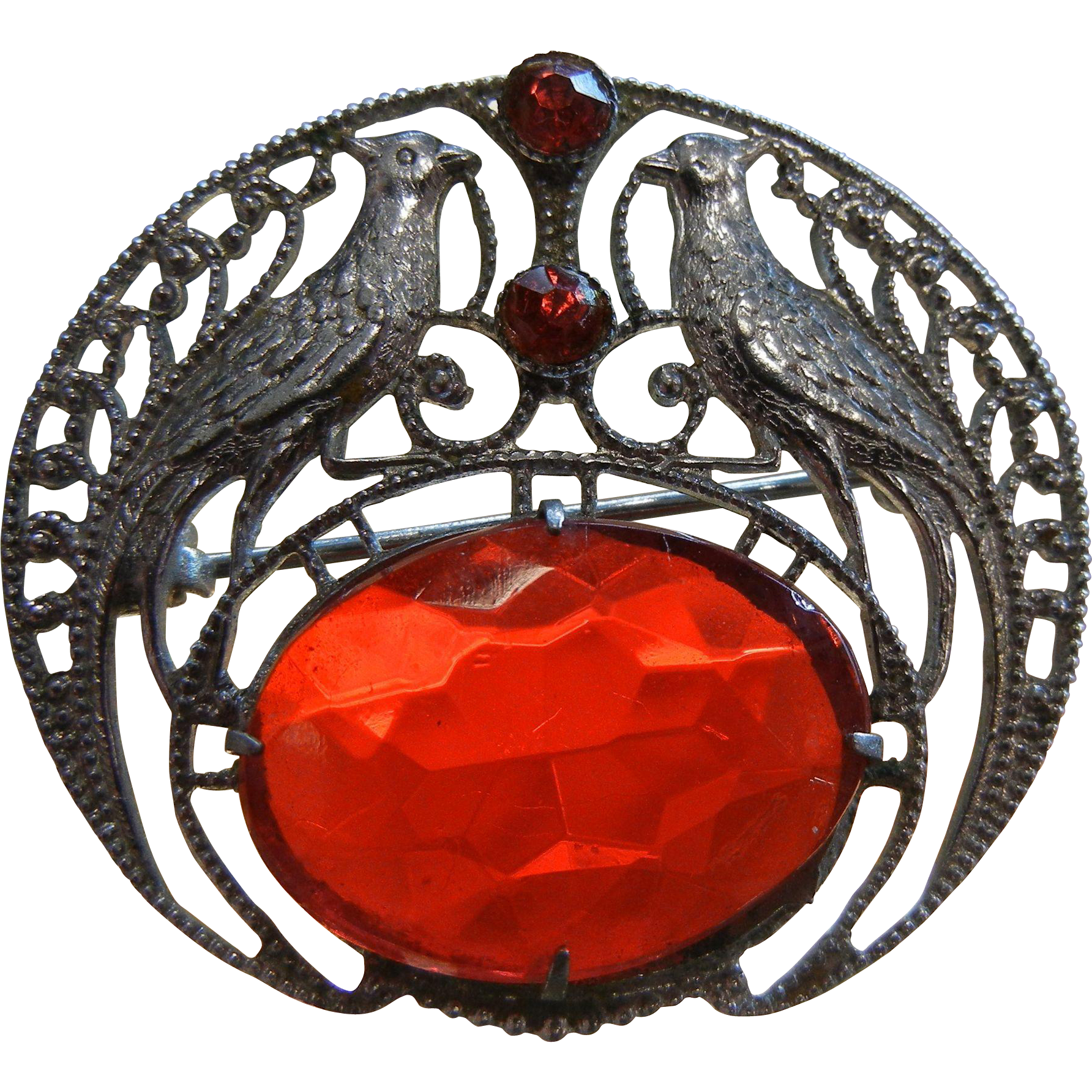 Wonderful Silver-Tone Brooch w/ Red Glass Stones & Pheasant Detail