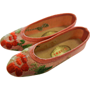 Vintage Miniature Pink & Colorful Chinese Embroidery Shoes