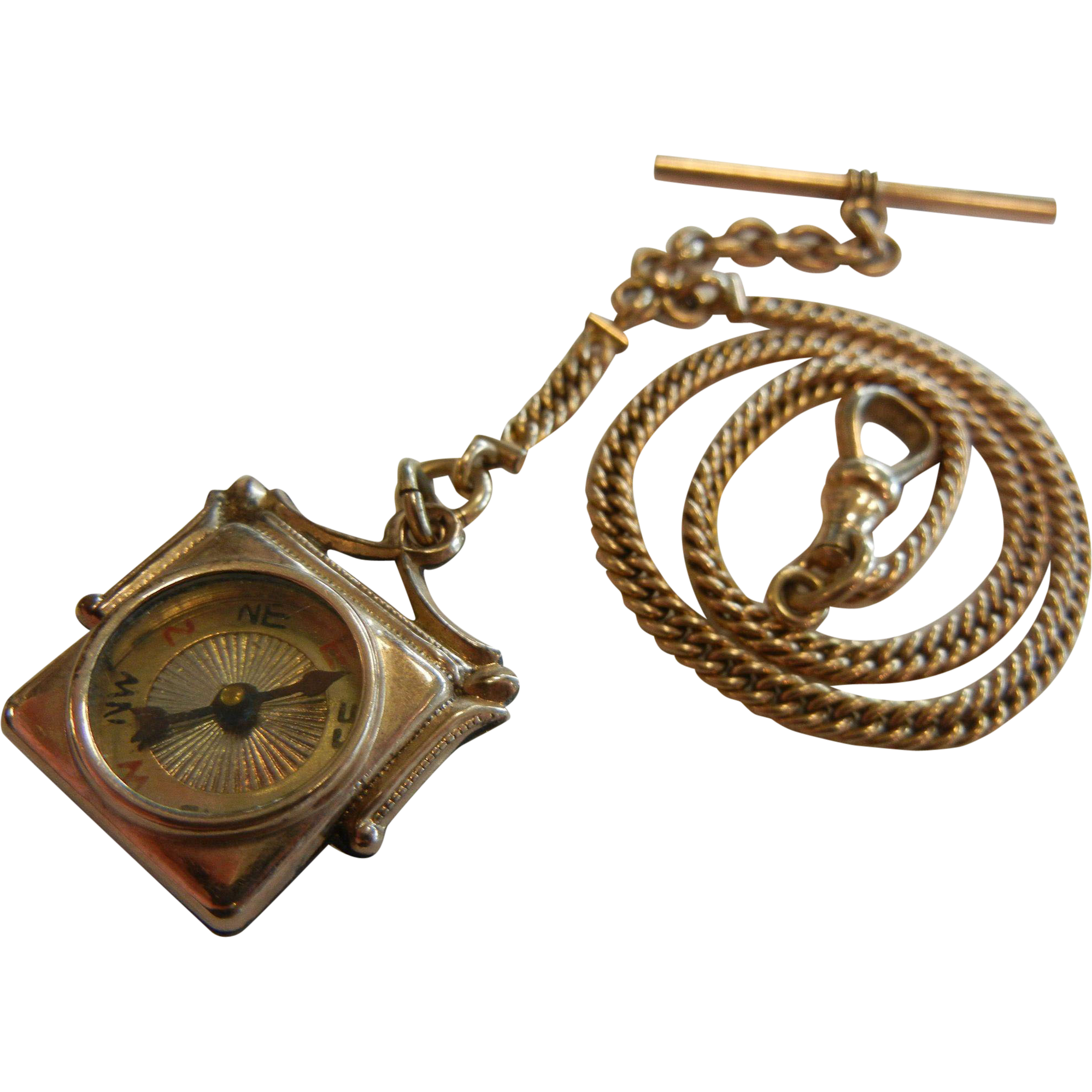 Fine Antique Gold Filled Watch Fob Chain w/ Gold Filled Compass