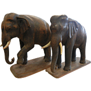 Antique Wooden Carved Realistic Pair of Elephant Statues