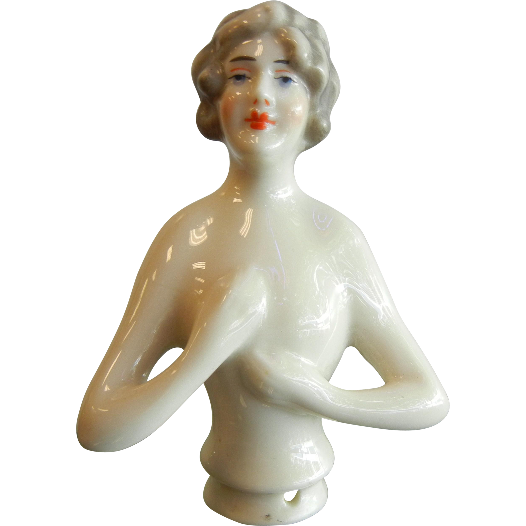 Vintage Porcelain Pin Cushion Top Nude Woman Figurine