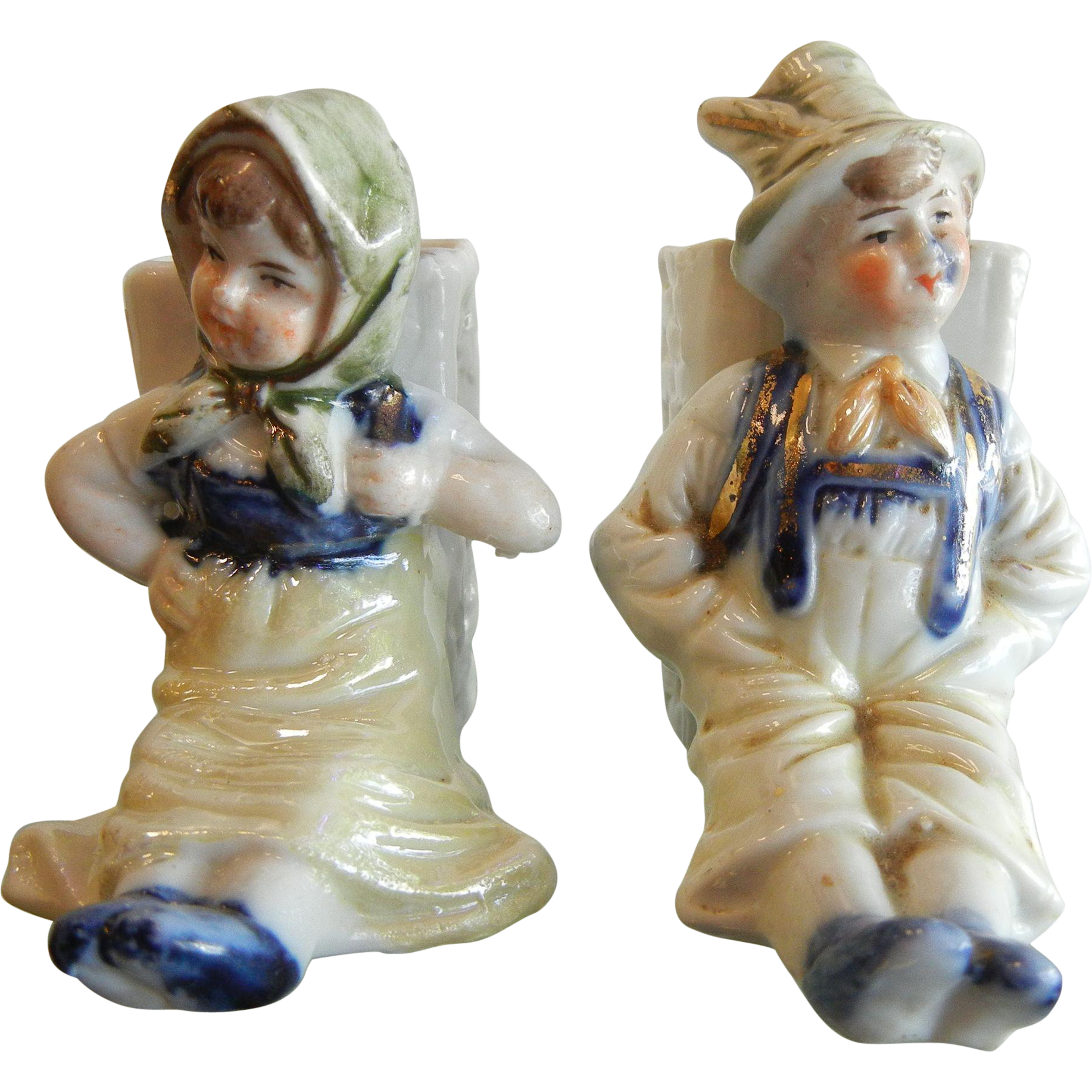 Vintage Porcelain Boy & Girl Book Rest or Vase Type Figurines